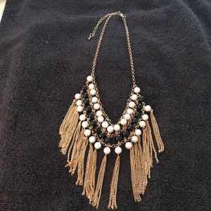 Gold Tone Fringed Necklace with Blk Balls & Pearls